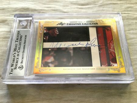 John Wooden and Marques Johnson 2013 Leaf Masterpiece Cut Signature certified autograph card 1/1 JSA