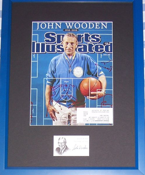 John Wooden autographed business card framed with UCLA Bruins 2010 Sports Illustrated tribute cover