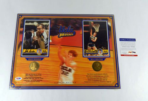 John Wooden and Bill Walton autographed UCLA Bruins basketball 12x16 commemorative photo with coins PSA/DNA