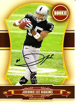 Johnnie Lee Higgins certified autograph Oakland Raiders 2007 Donruss Classics Rookie Card #7/100
