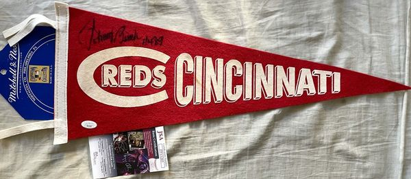 Johnny Bench autographed Cincinnati Reds Mitchell and Ness pennant inscribed HOF 89 (JSA)