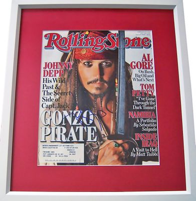 Johnny Depp autographed Pirates of the Caribbean 2006 Rolling Stone cover matted and framed