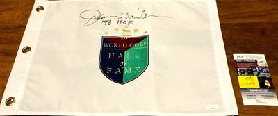 Johnny Miller autographed World Golf Hall of Fame embroidered pin flag inscribed '98 HOF (JSA)