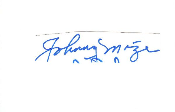 Johnny Mize autograph or cut signature mounted on 3x5 index card