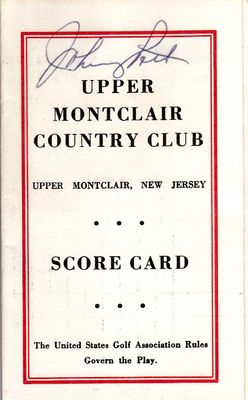 Johnny Pott autographed Upper Montclair Country Club 1960s golf scorecard