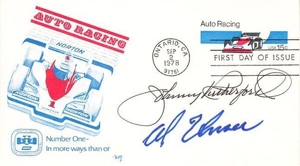 Johnny Rutherford and Al Unser Sr. autographed 1978 Auto Racing First Day Cover