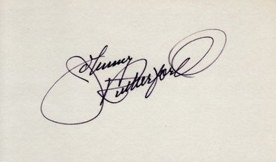 Johnny Rutherford autographed index card