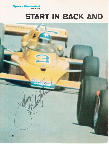 Johnny Rutherford autographed Sports Illustrated full page magazine photo
