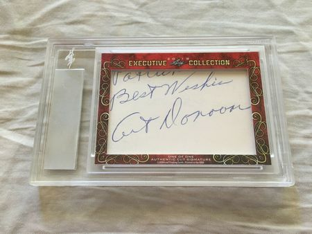 Johnny Unitas and Art Donovan 2018 Leaf Masterpiece Cut Signature certified autograph card 1/1 JSA