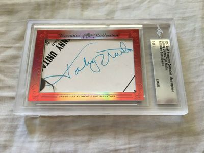 Johnny Unitas and Tom Matte 2017 Leaf Masterpiece Cut Signature certified autograph card 1/1 JSA Colts