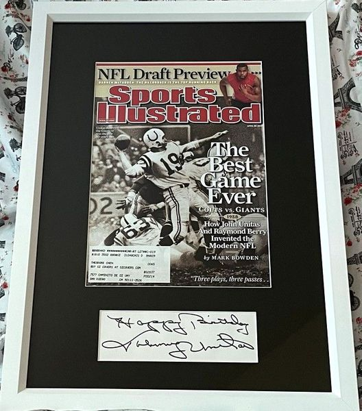 Johnny Unitas autograph framed with Baltimore Colts Sports Illustrated cover inscribed Happy Birthday (JSA)