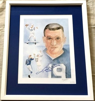 Johnny Unitas autographed Baltimore Colts 11x14 art lithograph framed (with original signing ticket)