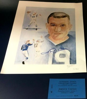 Johnny Unitas autographed Baltimore Colts 11x14 color lithograph with original signing ticket