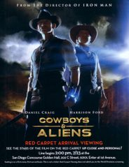 Jon Favreau autographed Cowboys and Aliens mini movie poster