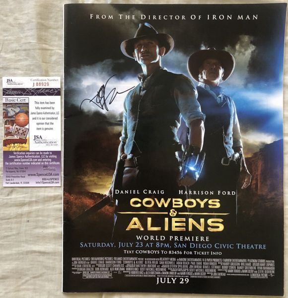 Jon Favreau autographed Cowboys and Aliens mini movie poster (JSA)