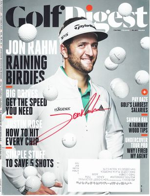 Jon Rahm autographed 2018 Golf Digest magazine cover