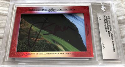Jordan Spieth and Tom Watson 2015 Leaf Masterpiece Cut Signature certified autograph card 1/1 JSA