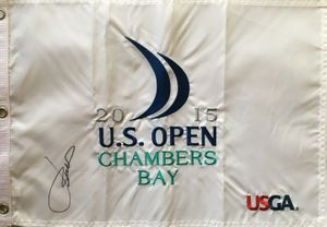 Jordan Spieth autographed 2015 U.S. Open embroidered golf pin flag