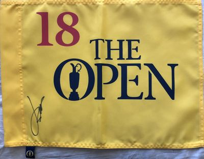 Jordan Spieth autographed British Open undated golf pin flag