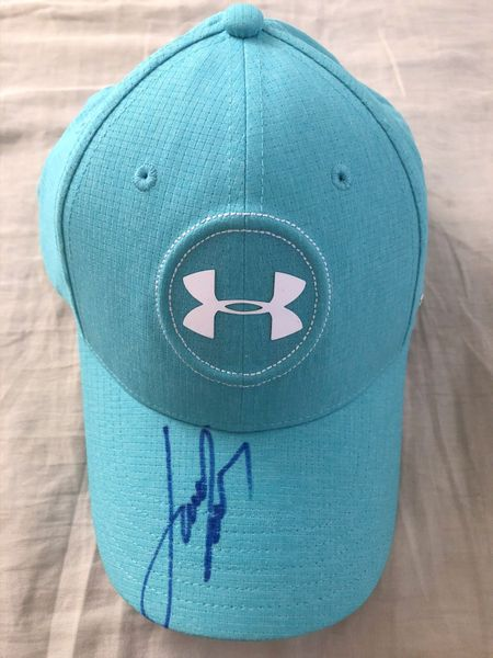 Jordan Spieth autographed Under Armour Golf teal personal model cap or hat