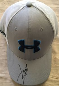 Jordan Spieth autographed Under Armour Golf gray and white cap or hat