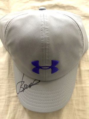 Jordan Spieth autographed Under Armour gray and purple golf cap or hat