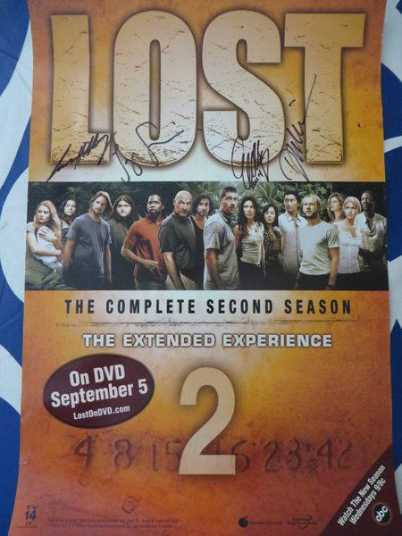 Jorge Garcia Josh Holloway Daniel Dae Kim Evangeline Lilly autographed LOST Season 2 poster