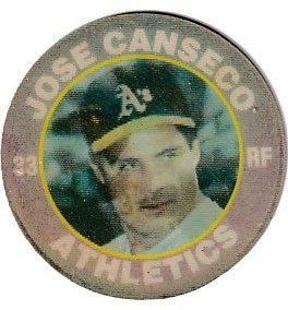 Jose Canseco Oakland A's 1991 7-11 Slurpee coin or disc