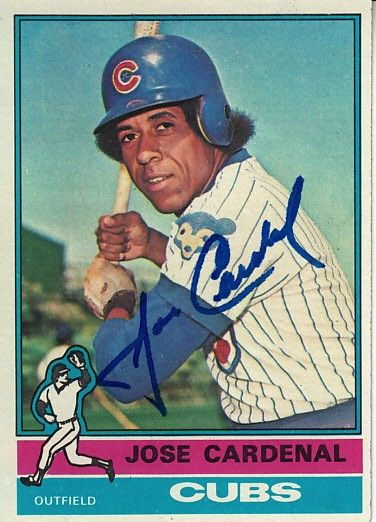 Jose Cardenal autographed Chicago Cubs 1976 Topps card