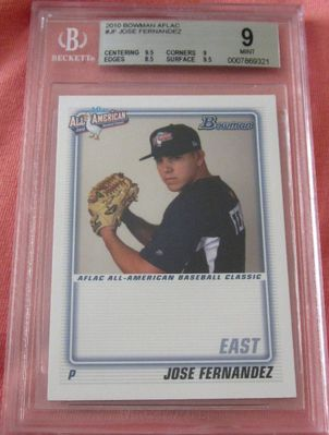 Jose Fernandez 2010 AFLAC Bowman Rookie Card RC graded BGS 9 MINT