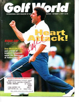 Jose Maria Olazabal autographed 1997 Ryder Cup Golf World magazine