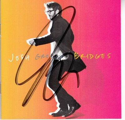 Josh Groban autographed Bridges 2018 CD booklet with CD and signing photo