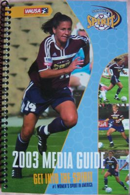 Joy Fawcett 2003 WUSA San Diego Spirit media guide MINT