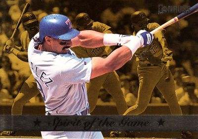 Juan Gonzalez Texas Rangers 1994 Donruss Spirit of the Game jumbo insert card #/10000