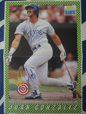 Juan Gonzalez autographed Texas Rangers Sports Illustrated for Kids mini poster