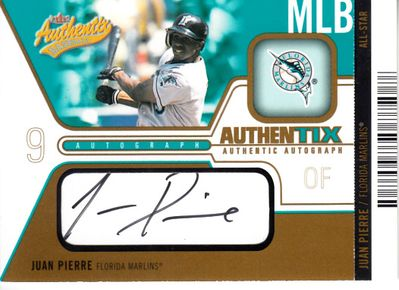 Juan Pierre certified autograph Florida Marlins 2004 Fleer Authentix card #46/75