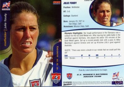 Julie Foudy 2004 U.S. Women's National Team card