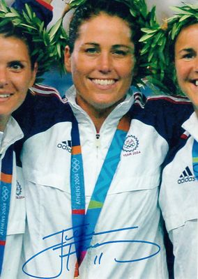 Julie Foudy autographed 2004 U.S. Olympic gold medal ceremony 5x7 photo