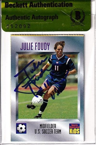 Julie Foudy autographed U.S. Soccer 1997 Sports Illustrated for Kids card (BAS authenticated)