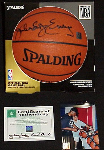 Julius (Dr. J) Erving autographed Spalding NBA game model basketball