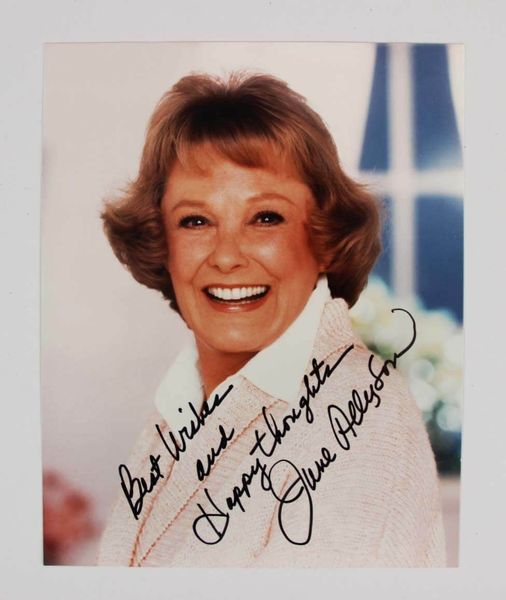 June Allyson autographed 8x10 color photo inscribed Best Wishes and Happy thoughts