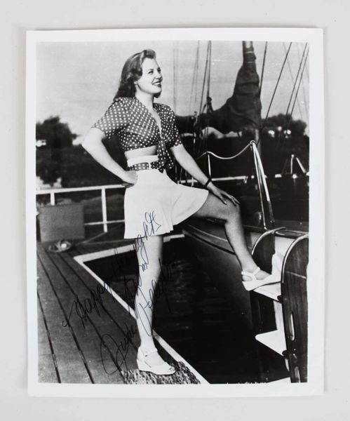 June Allyson autographed vintage 8x10 black and white photo inscribed Happy thoughts
