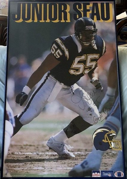 Junior Seau autographed San Diego Chargers 22x34 Starline poster framed inscribed God Bless