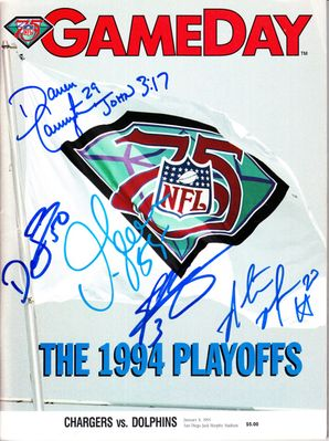 1994 San Diego Chargers autographed Playoff game program Junior Seau John Carney Rodney Harrison Natrone Means