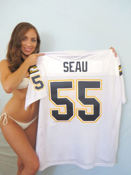 Junior Seau San Diego Chargers 2002 authentic Reebok stitched white jersey
