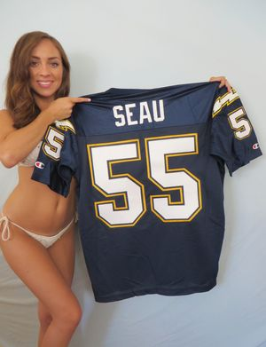 Junior Seau San Diego Chargers authentic Champion 1990s stitched blue jersey