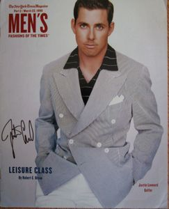 Justin Leonard autographed 1998 New York Times Magazine fashion cover