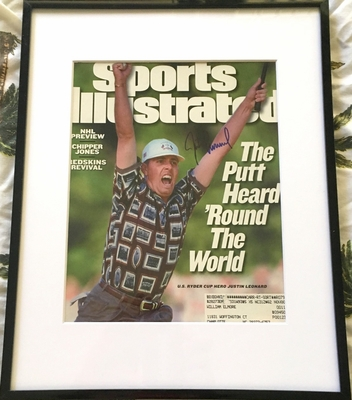 Justin Leonard autographed 1999 Ryder Cup celebration Sports Illustrated cover matted and framed (JSA)