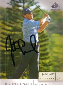 Justin Leonard autographed 2004 SP Signature golf card