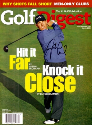 Justin Leonard autographed Golf Digest magazine cover